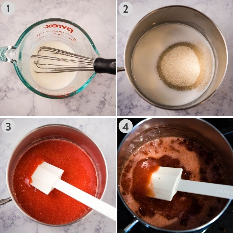 steps for making strawberry sauce, including mixing corn starch and water in Pyrex measuring cup, mixing corn starch mixture with sugar in KitchenAid mixing bowl, adding strawberry puree to sauce pan, and boiling strawberry sauce in sauce pan on stove
