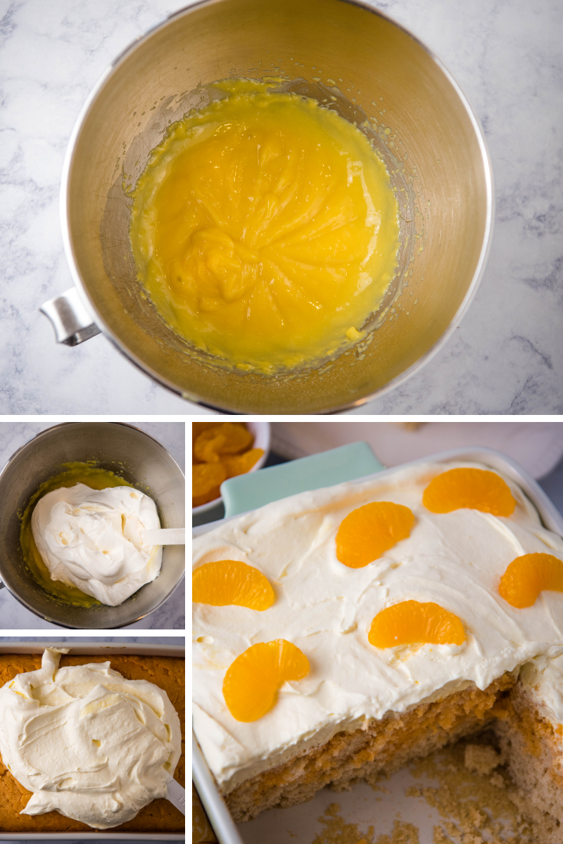 mixing up whipped frosting for orange poke cake in stainless mixing bowl, folding in Cool Whip, and spreading frosting on cake, then adding slices of mandarin oranges to top of cake in mint green baking dish