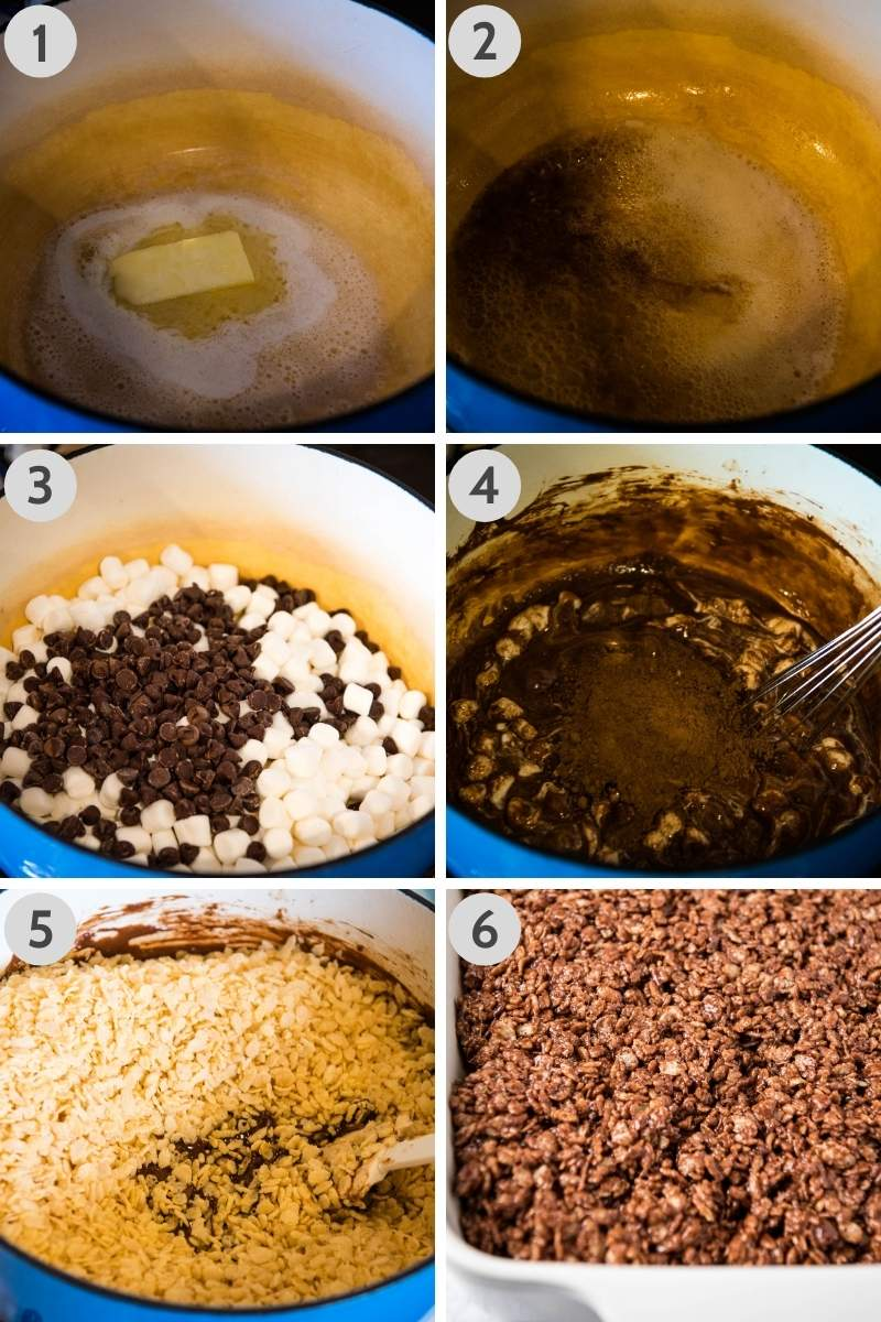 steps for making chocolate rice crispy cakes in blue Dutch oven on stovetop, steps including melting butter, adding vanilla extract, almond extract, and salt, melting mini marshmallows and chocolate chips, whisking in cocoa powder, adding crisp rice cereal, and spreading mixture into white baking dish