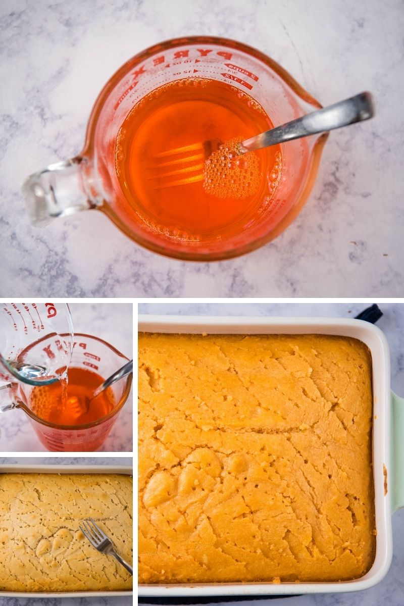 dissolving orange Jello in Pyrex measuring cup, poking holes in vanilla cake with fork, and orange Jello poured over cake to make Jello cake
