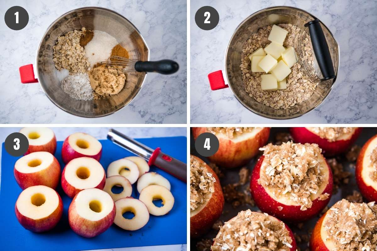 steps for how to make slow cooker baked apples, including mixing and coring and stuffing the apples